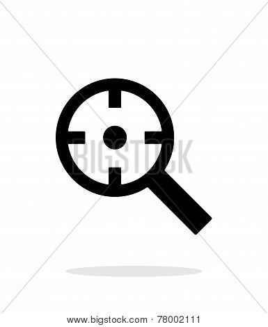 Magnifier crosshair icon on white background.
