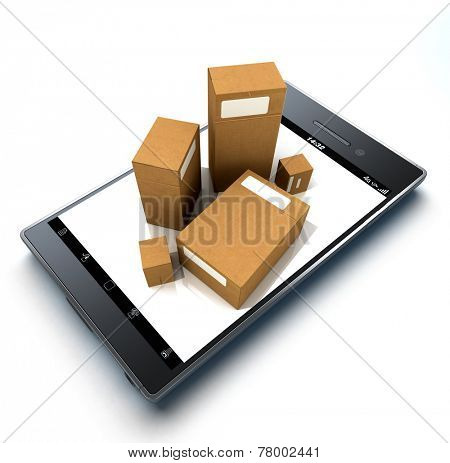 Group of cardboard boxes on top of a handheld device