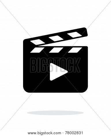Clapper board open icon on white background.