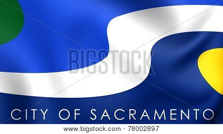 Flag Of Sacramento, Usa.