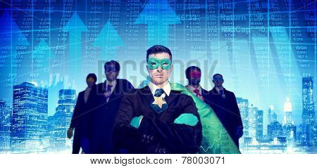 Superhero Businessmen Cityscape Stock Market Team Concept