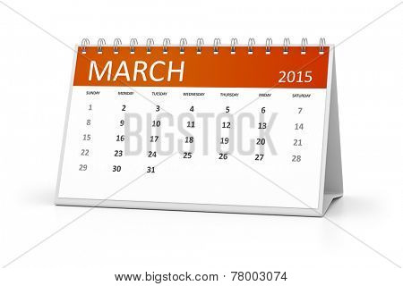 An image of a table calendar for your events March 2015