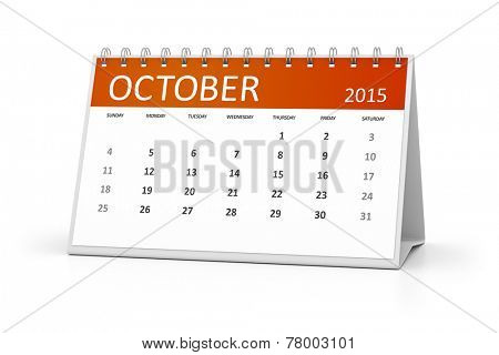 An image of a table calendar for your events October 2015