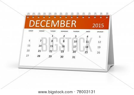 An image of a table calendar for your events December 2015