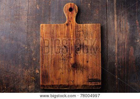 Chopping Cutting Board On Dark Wooden Background