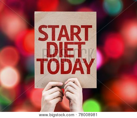Start Diet Today card with colorful background with defocused lights