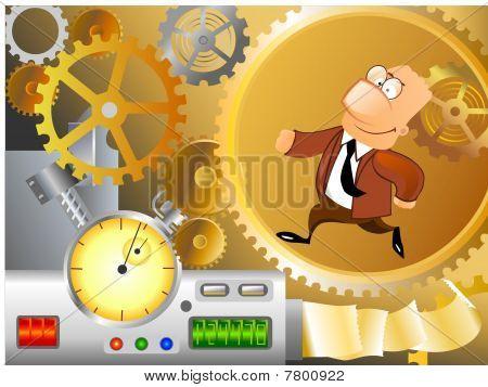 businessman is running inside machinery
