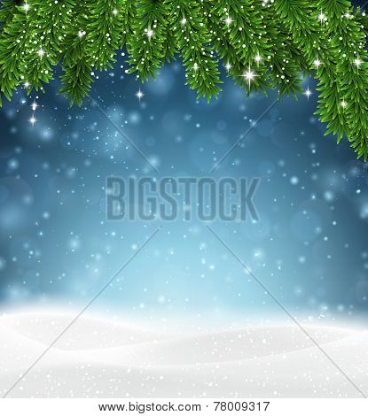 Winter abstract background with spruce twigs and snow. Christmas vector wallpaper. Eps10.