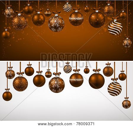 Abstract arc background with brown christmas balls. Vector illustration.