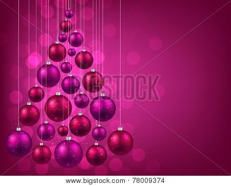 Christmas tree with purple christmas balls. Vector illustration.