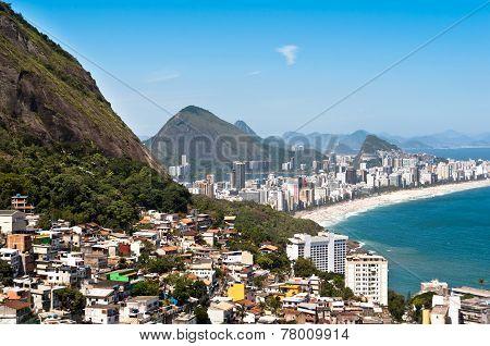 Rio de Janeiro Favela and Ipanema Beach View