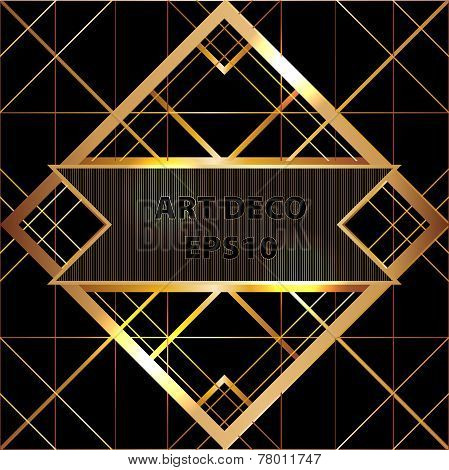 Art deco geometric pattern gold