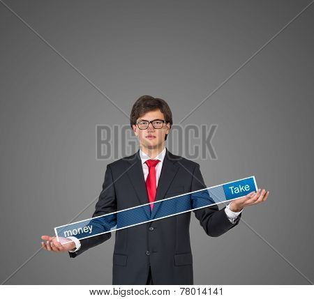Businessman Holding Search