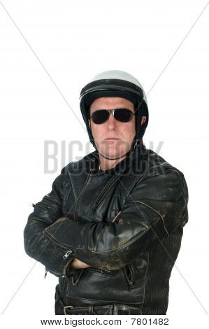 Man Wearing Leather Jacket And Biking Helmet