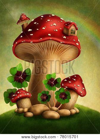 Magic mushrooms and four leaf clover