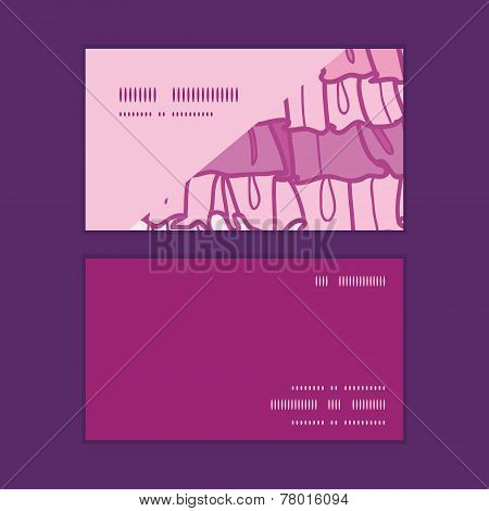 Vector pink ruffle fabric stripes horizontal corner frame pattern business cards set