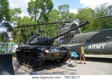 American tank and helicopter at War Remnants Museum, Ho Chi Minh City, Vietnam