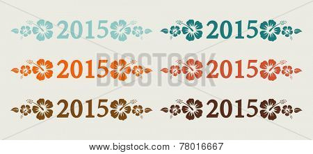 Vector 2015 text in retro colors, vintage background