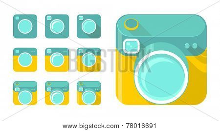 Vector set of camera icons in different design styles