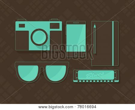 Vector objects in hipster style, retro camera, sunglasses, phone, notebook, and harmonica