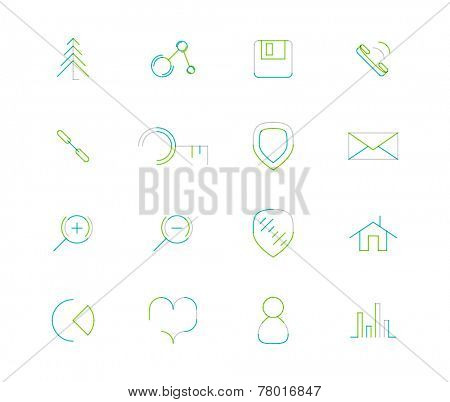 Set of thin line web icons isolated on white - connection floppy handset key shield letter email zoom home chart heart love graph user avatar