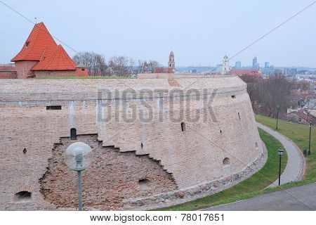VILNIUS,LITHUANIA, November 17, 2014: Red bricks and stones fortification in old Vilnius city. Lithuania.