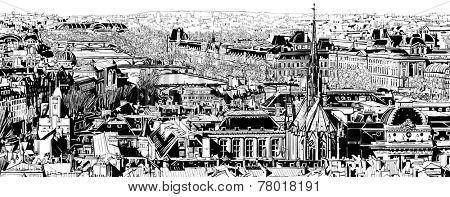 Panoramic view of Paris - Vector illustration