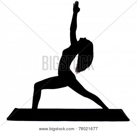 Beautiful woman exercising virabhadrasana or warrior pose yoga silhouette shadow white background