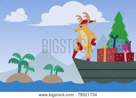 vector art santa reindeer riding boat