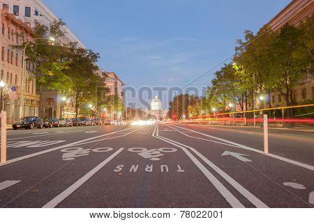 Washington city street at night.
