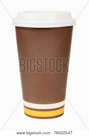 Disposable paper coffee cup isolated on white background