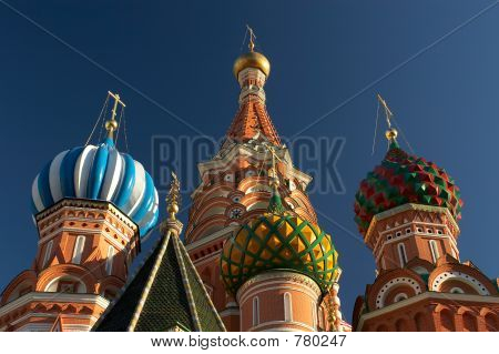 Saint Basil's cathedrals domes. Moscow, Russia. Closeup