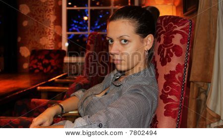 Woman in a cofe bar