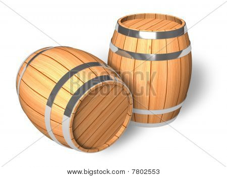 Two wooden barrels