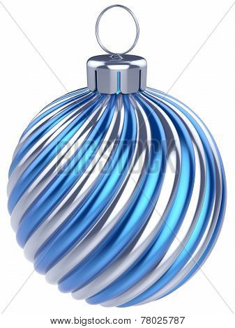 New Years Eve Bauble Christmas Ball Decoration Blue Silver