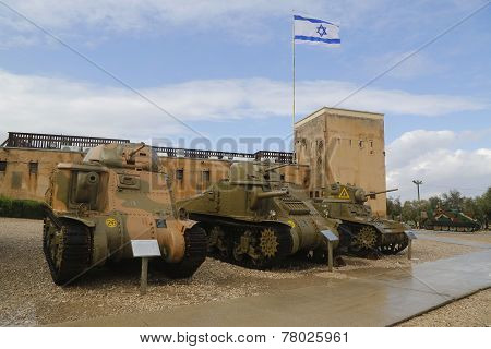 American light tanks on display M3 Grant, M3 Lee and M3A1 Stuart at Yad La-Shiryon Museum