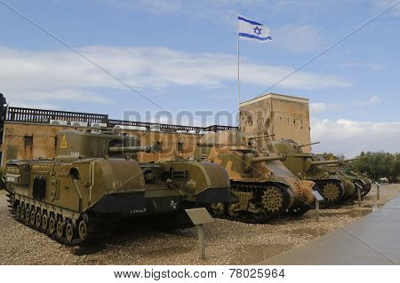 British heavy infantry tank Churchill  at Yad La-Shiryon Armored Corps  Museum at Latrun