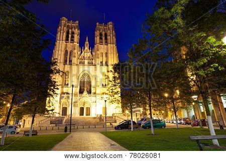 Cathedrale des Saints Michel et Gudule at night