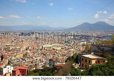 Napoli city with Monte Vesuvio