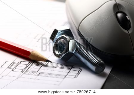 Drafting, Mouse And Screw Bolt With Nut