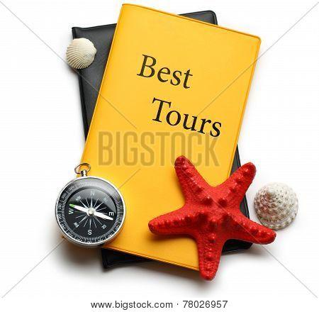 Compass, Seastar And Seashells On Best Tours Brochure