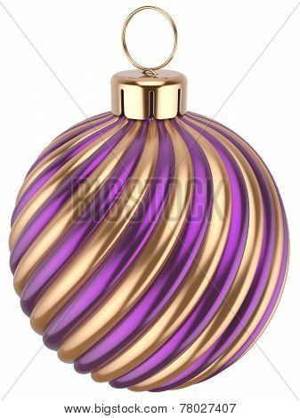 Christmas Ball New Year Bauble Decoration Purple Gold