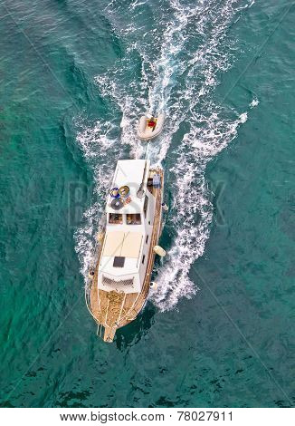 Fishing Trawler Aerial Vertical View