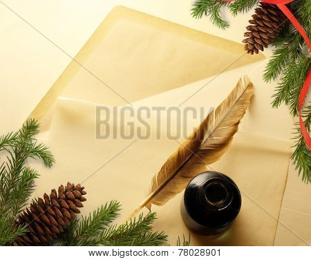 Christmas Decoration On Envelope