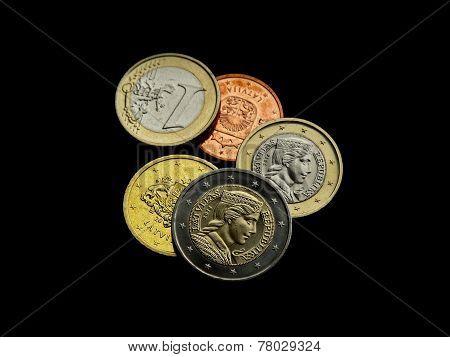 Euro Coins One Two Money Obverse Reverse Latvian Republic New