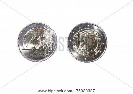Euro Coins One Two Money Obverse Reverse Latvian Republic New