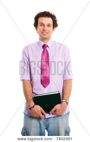 Happy Student In Shirt And Tie Holds Notebook, Isolated