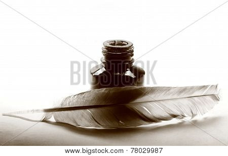Feather With The Bottle Full Of Ink