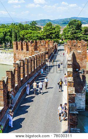 Old Bridge In Verona Over Adige River - Castelvecchio