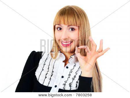 Businesswoman Showing Ok